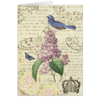 Girly vintage greeting card with bird and lilac