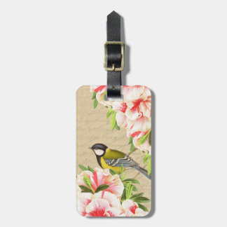 Girly vintage luggage tag with bird and flowers