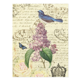 Girly vintage postcard with bird and lilac