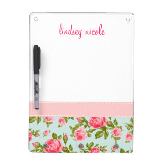 Girly Vintage Roses Floral Monogram Dry-Erase Whiteboard