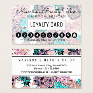 Girly Watercolor Rose Gold Floral Loyalty Punch Business Card