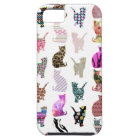Girly Whimsical Cats aztec floral stripes pattern iPhone 5 Cover
