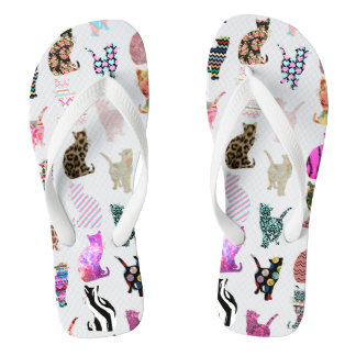 Girly Whimsical Cats aztec floral stripes pattern Thongs