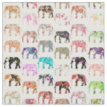 Girly Whimsical Retro Floral Elephants Pattern Fabric