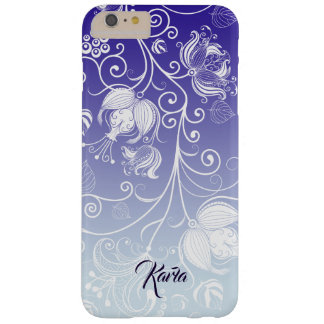 Girly White Floral Design Purple & White Ombre 3 Barely There iPhone 6 Plus Case