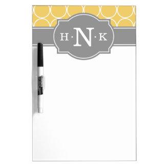 Girly Yellow Circle Pattern Grey Monogram Dry Erase Board