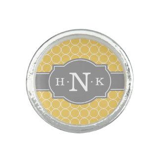 Girly Yellow Circle Pattern Grey Monogram Ring