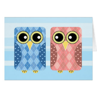 Give a Loot Argyle Owls Love Greeting Card