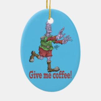 Give me coffee! Oval ceramic decoration. Ceramic Oval Decoration