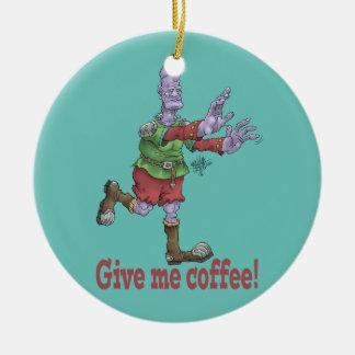 Give me coffee! Round ceramic decoration. Round Ceramic Decoration