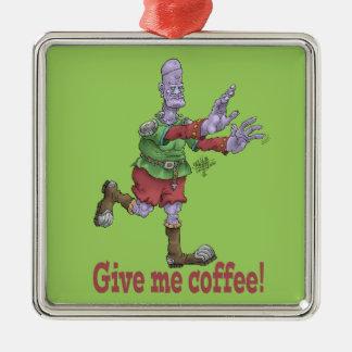 Give me coffee! Silver-Colored square decoration