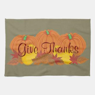 Give Thanks Autumn Harvest Thanksgiving Tea Towel