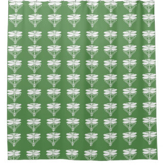 Glade Green Arts and Crafts Dragonflies Shower Curtain