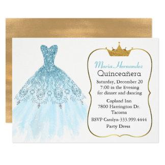 Glam Aquamarine Gown Quinceañera Invitation