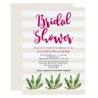 Glam Cactus Bridal Shower Invitation