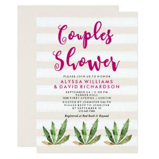 Glam Cactus Couples Shower 13 Cm X 18 Cm Invitation Card