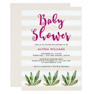 Glam Cactus   Desert Stripes Baby Shower 13 Cm X 18 Cm Invitation Card