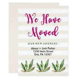 Glam Cactus   Desert Stripes Change of Address 13 Cm X 18 Cm Invitation Card