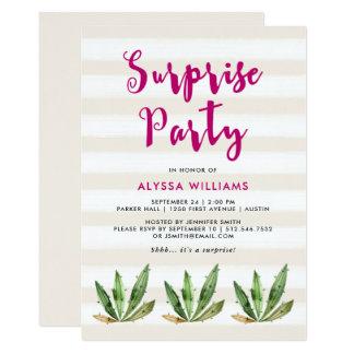 Glam Cactus   Desert Stripes Surprise Party 13 Cm X 18 Cm Invitation Card