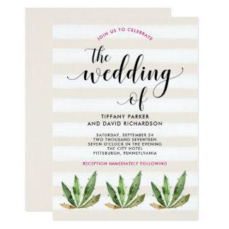Glam Cactus   Desert Stripes Wedding 13 Cm X 18 Cm Invitation Card