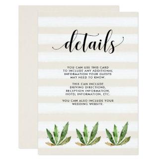 Glam Cactus   Desert Stripes Wedding Guest Details 9 Cm X 13 Cm Invitation Card