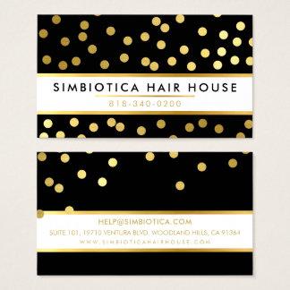 GLAM CONFETTI modern cute dot pattern gold black Business Card