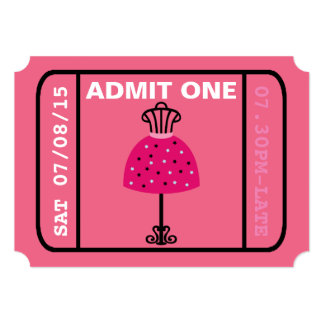 Glam Fashion Show Party Night Girl's Ticket 13 Cm X 18 Cm Invitation Card