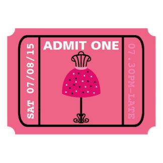 Glam Fashion Show Party Night Girl's Ticket 13 Cm X 18 Cm Invitation Card