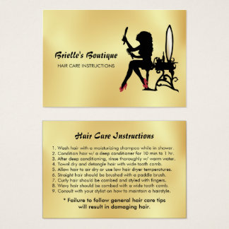 Glam Faux Gold Black Woman Hair Care Instructions Business Card