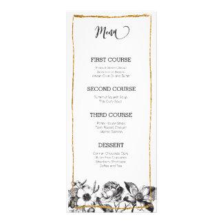 Glam Glitter Black and White Floral Menu Card Rack Card Design