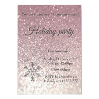Glam glittery snowflake company holiday party card