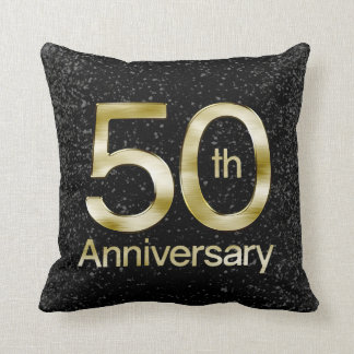 Glam Gold 50th Anniversary Throw Pillow