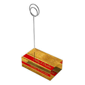 Glam Gold and Red Custom Table Card Holder
