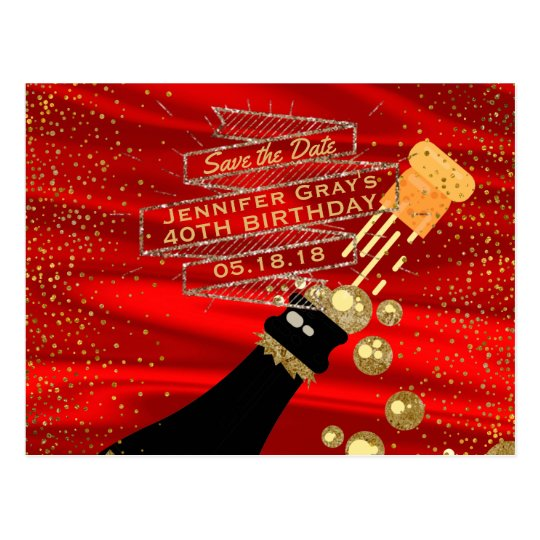 Glam Gold Red Save the Date Champagne Birthday Postcard
