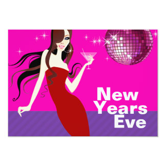 Glam New Years Eve Party - little red dress Card