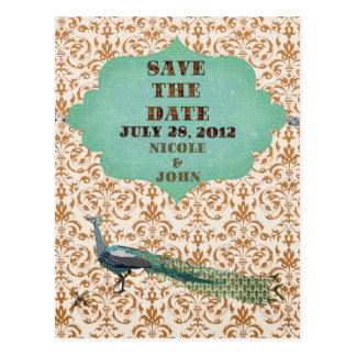 Glam Peacock Golden Damask Save the Date Postcard