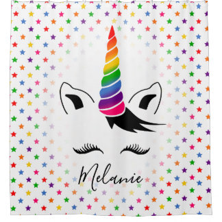 Glam Rainbow Unicorn Shower Curtain