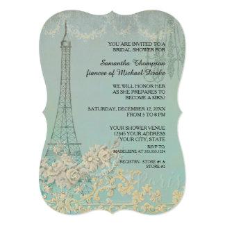 Glam Vintage Paris Parisian Stylish Bridal Shower 13 Cm X 18 Cm Invitation Card