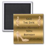 Glamorous 50th Save The Date Gold Stiletto Fridge Magnet