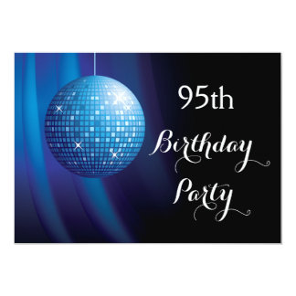 "Glamorous 95th Birthday Blue Party Disco Ball 5"" X 7"" Invitation Card"