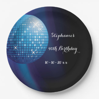 Glamorous 95th Birthday Blue Party Disco Ball 9 Inch Paper Plate