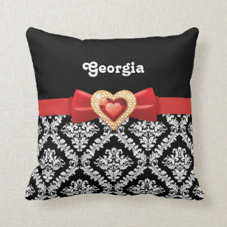 Glamorous Black white damask & red bow and jewel Throw Pillow