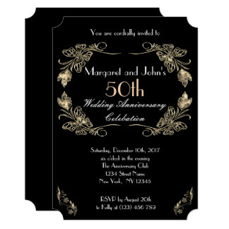 Glamorous Gold and Black 50th Wedding Anniversary Card