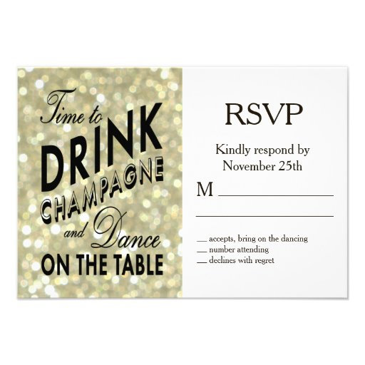 Glamorous Gold RSVP Personalized Invitations