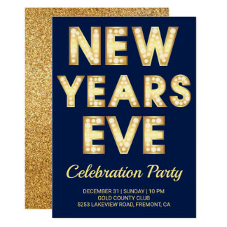 Glamorous Gold Typography New Year's Eve Party Card