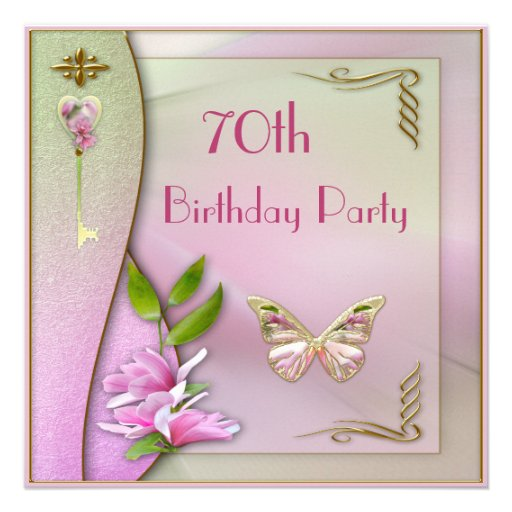 Glamorous Key, Magnolia & Butterfly 70th Birthday Invites