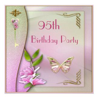 Glamorous Key Magnolia Butterfly 95th Birthday Custom Invite