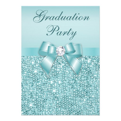 Glamorous Teal Jewels Bow Girls Graduation Party Custom Announcements