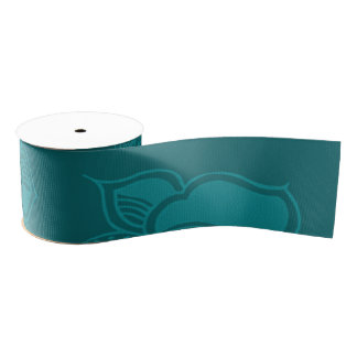 Glamorous Vintage Floral Elegant Teal Turquoise Grosgrain Ribbon