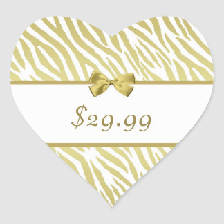 Glamorous White and Gold Zebra Print Price Tag Heart Sticker